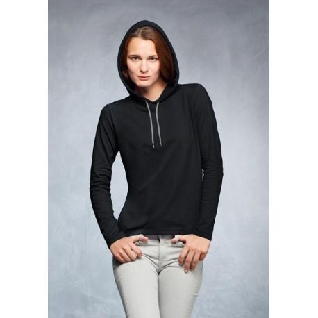 Women's Fashion Basic LS Hooded Tee-shirt 887L
